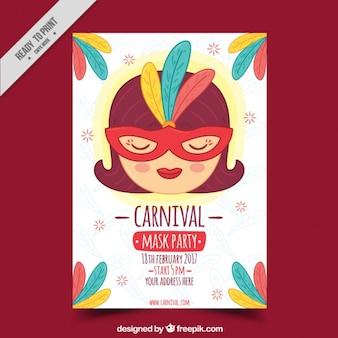 Vintage carnival masks party flyer