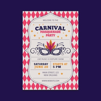 Vintage carnival party flyer with mask