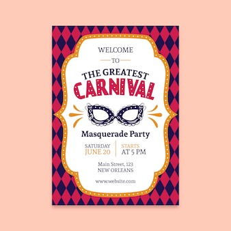 Vintage carnival party poster with mask