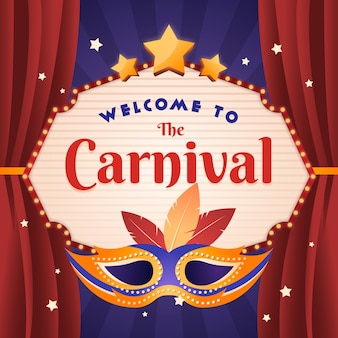 Vintage carnival spectacle with mask and curtains