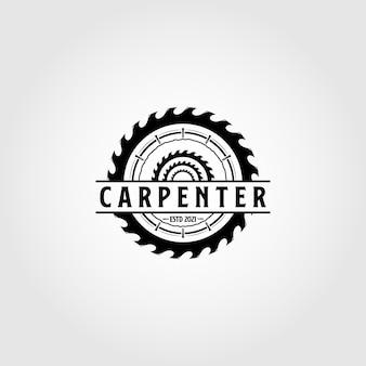Vintage carpentry logo vector design woodwork emblem symbol illustration design