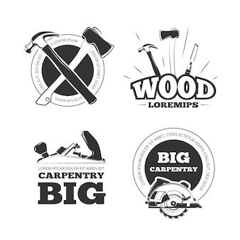Vintage carpentry vector labels