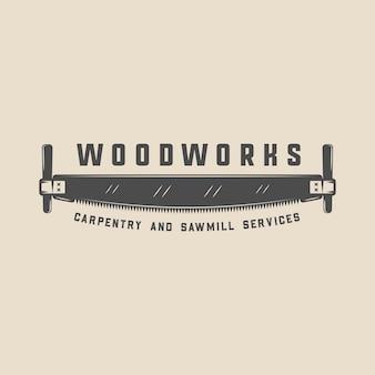 Старинные столярные изделия из дерева и механик этикетка значок эмблема и логотип