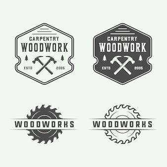 Vintage carpentry, woodwork and mechanic emblems