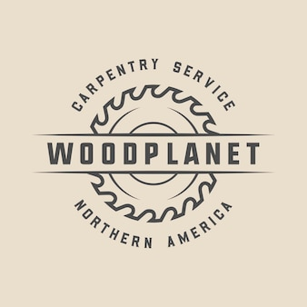 Vintage carpentry woodwork and mechanic label badge emblem and logo
