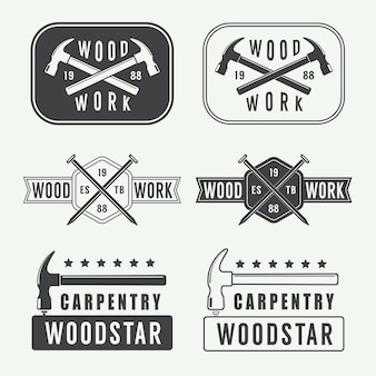 Vintage carpentry, woodwork and mechanic logo