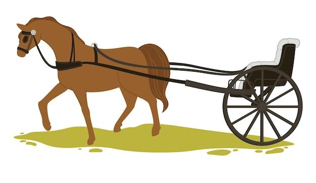 旧市街や町でのヴィンテージの運送と輸送。数人用のハーネスと馬車を備えた孤立した馬。従来の輸送手段、レトロな車両または戦車。フラットスタイルのベクトル