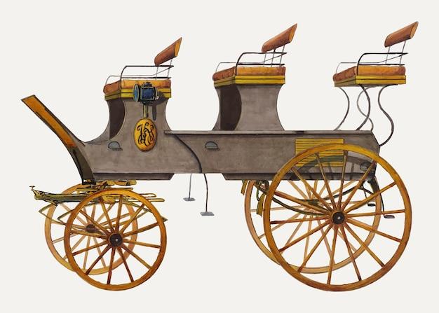 Винтажная иллюстрация кареты, сделанная по мотивам работы фреда вайса.