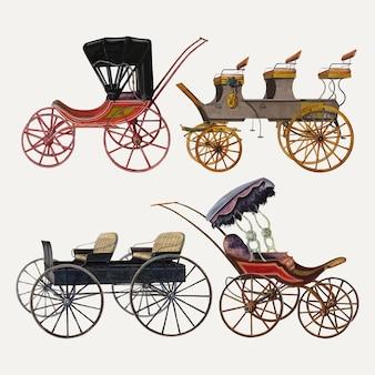パブリックドメインのコレクションからリミックスされたヴィンテージの馬車のベクトル図