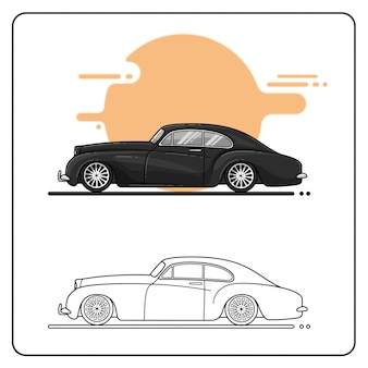 Vintage cars side view easy editable