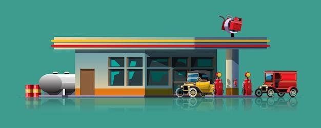 ガソリンスタンドでいっぱいになるのを待っているヴィンテージカー