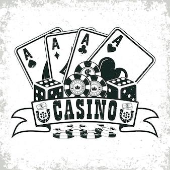 Винтажный дизайн логотипа казино с принтом гранжа