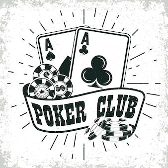 ビンテージカジノのロゴ、グランジプリントスタンプ、創造的なポーカータイポグラフィエンブレム、