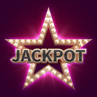 Vintage casino mega bonus poster with retro illuminated star. showtime and jackpot. jackpot prize, win in casino, winner star illustration