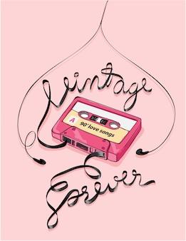 Vintage cassette tape illustration