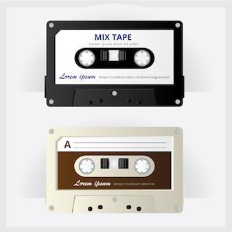 Vintage cassette tape vector illustration