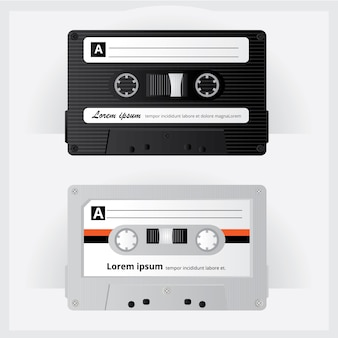 Vintage cassette tape vector illustration