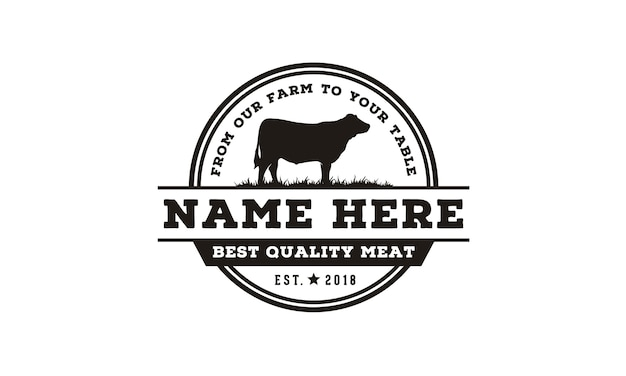 Vintage cattle / beef label emblem logo design