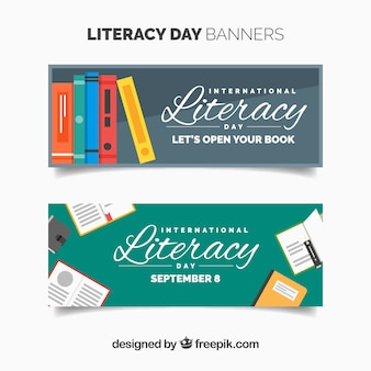 Vintage celebration banners for literacy day