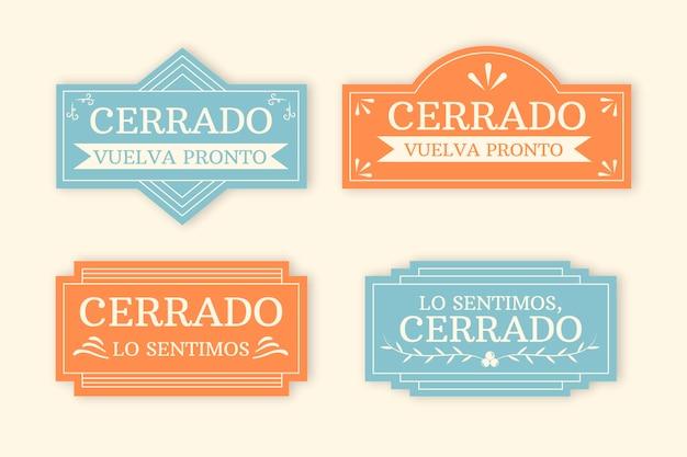 Коллекция вывески vintage cerrado
