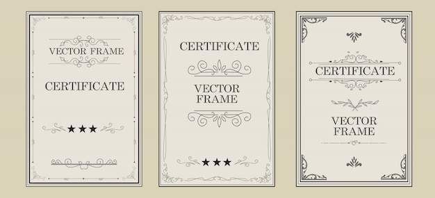 Vintage certificate design with flourish ornament big collection
