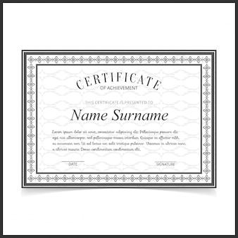 Modello certificato vettoriale con bordi grigio scuro