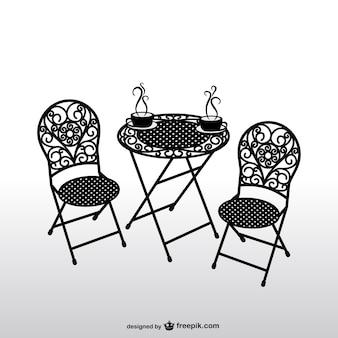 빈티지 의자와 커피