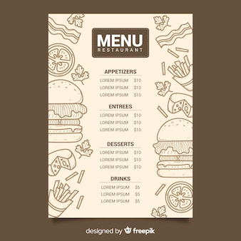 Vintage chalk drawing menu for restaurant