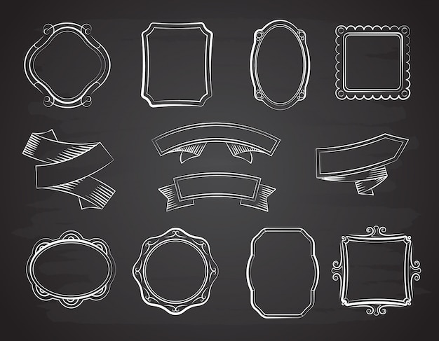 Vintage chalkboard hand drawn ribbon banners