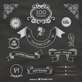 Vintage chalkboard ribbons