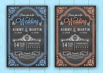 Vintage Chalkboard Wedding Invitation Card Template
