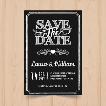 Vintage chalkboard wedding invitation card template