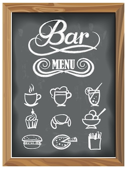 Vintage chalkboard with bar menu and food icons