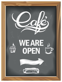 Vintage chalkboard with cafe open