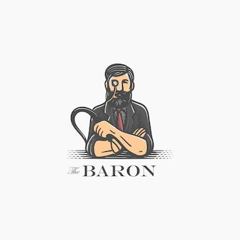 Старинный персонаж барон, держа кнут знаковым логотипом.