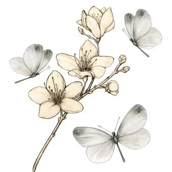 灰色の蝶に囲まれたヴィンテージの桜の枝