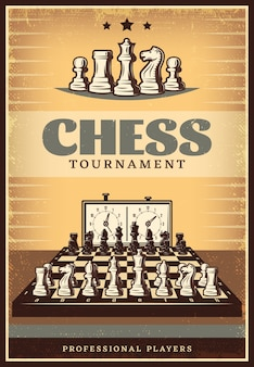 Vintage chess competition poster