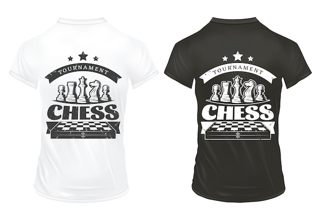 Vintage chess prints on shirts template