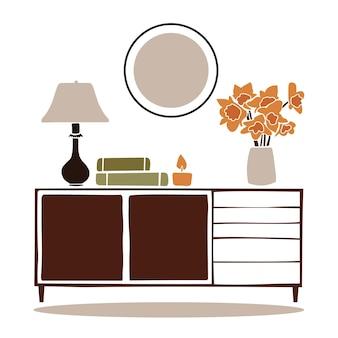 Vintage chest of drawersmodern boho interior with abstract elements in  cut out style
