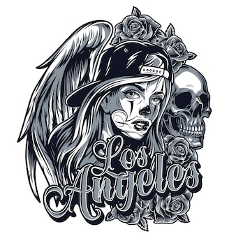 Vintage chicano style tattoo concept