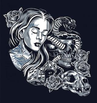 Винтажная концепция татуировки в стиле чикано