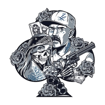 Vintage chicano tattoo concept in playing card club suit shape with mustached latino man girl in scary mask skeleton hand holding gun money dice knuckles flowers isolated vector illustration