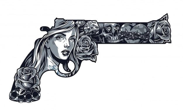 Винтажная концепция татуировки цикано