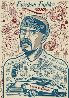 Vintage chicano tattoos poster with mustached latino man in bandana and different designs in monochrome style