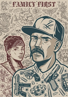 Vintage chicano tattoos poster with mustached latino man in baseball cap pretty girl in bandana with pigtails and different monochrome tattoo designs vector illustration