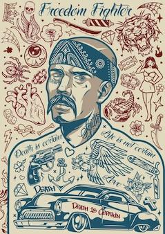 두건을 쓴 콧수염이 있는 라틴계 남자와 흑백 스타일의 다양한 디자인이 있는 빈티지 치카노 문신 포스터