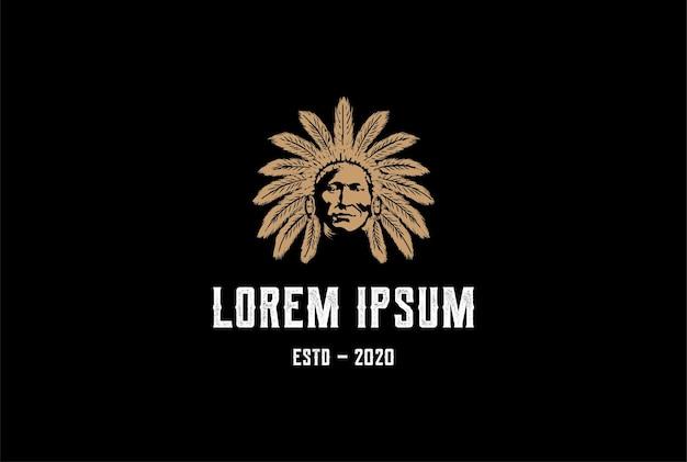 ヴィンテージチーフインディアン先住民のロゴデザインベクトル