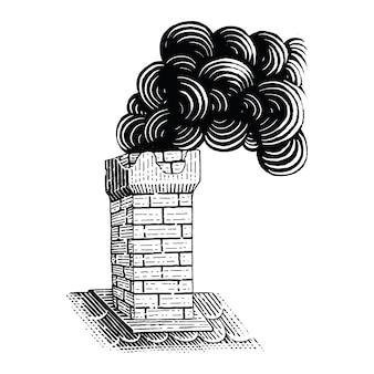 빈티지 굴뚝 손 그림 조각 그림 흑백 클립 아트 절연