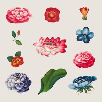 빈티지 중국 꽃 세트