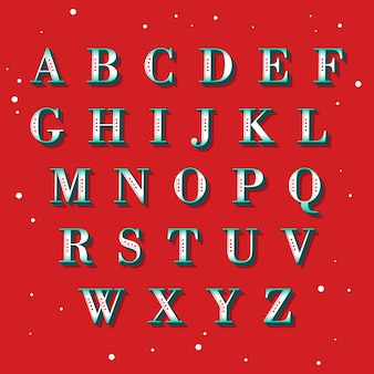 Vintage christmas alphabet illustration